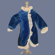 Beautiful Blue Velvet and White Lace Doll Coat