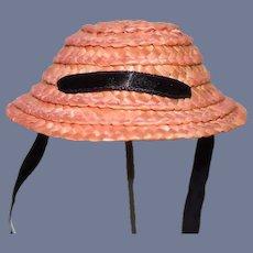 Little Pink Straw Doll Sun Hat