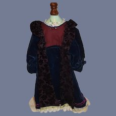 Beautiful Navy Blue and Purple Velvet Doll Dress