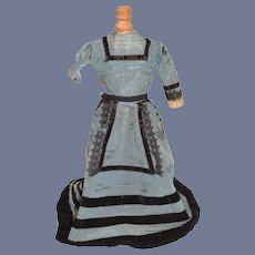 Beautiful Blue and Black Velvet Doll Dress Antiques
