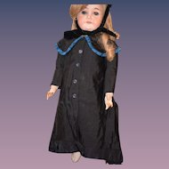 Old Doll Dress & Bonnet Hat For Bisque Doll Gorgeous Set