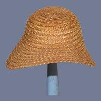 Vintage Doll Straw Bonnet Hat Fancy Wide Front Brim