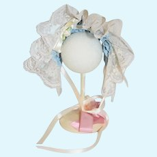 Blue And White Lace Adjustable Doll Bonnet