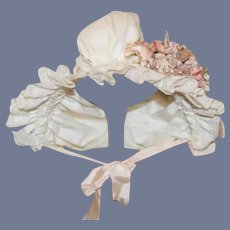 Beautiful White With Pink Flowers Doll Bonnet