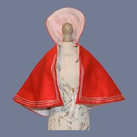 Red And White Hooded Doll Cape Charming