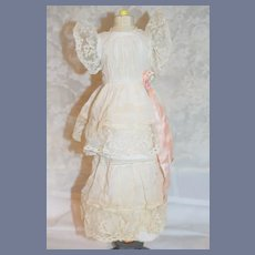 Sweet Old Cotton and Lace Doll Dress Fancy Bow