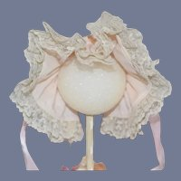 Beautiful Light Pink And White Lace Frill Doll Bonnet
