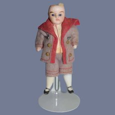 Antique Doll All Bisque Miniature Dressed Factory Clothing Glass Eyes