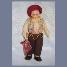 Wonderful Old Cloth Character Doll Lenci Type Boy W/ Parasol