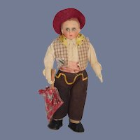 Wonderful Old Cloth Character Doll Lenci Type Boy W/ Parasol