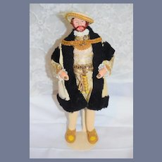 Vintage Wonderful Artist Doll Henry VIII Original Costume Sculptured and painted Features