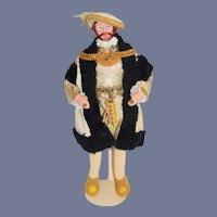 Vintage Wonderful Artist Doll Henry VIII Original Costume Sculptured and painted Features