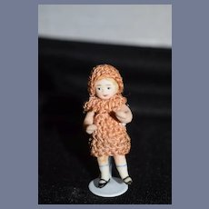 Antique All Bisque Miniature Dollhouse Doll Jointed