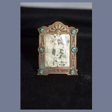 Sweet Old Miniature Doll Frame Dollhouse W/ Stones Easel Back