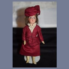 Antique French Bisque Miniature Doll W/ Fancy Clothing Dollhouse