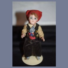 Antique All Bisque French Miniature Swivel Neck Doll Factory Original Clothing