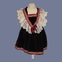 Sweet Vintage Doll Dress Velvet W/ Lace and Fancy Trim