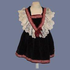 Sweet Vintage Doll Dress Velvet W/ Lace and Fancy Trim