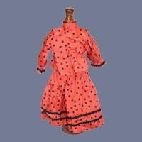 Sweet Doll Dress Two Piece Set Taffeta Skirt and Top Polka Dot