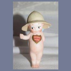 Antique Doll Rose O'Neill Kewpie W/ Chest Tag Wearing Sun Hat Rose O'Neill Doll Figurine Gardener
