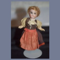 Antique Doll Miniature Bisque French Market Dollhouse Original Clothing
