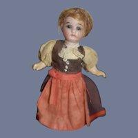 Antique Doll Miniature Bisque French Market Dollhouse Original Clothing