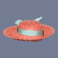 Miniature Pink Doll Sun Hat with Teal Ribbed Ribbon