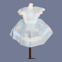 Beautiful Sheer Blue Flower Doll Dress
