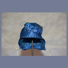 Royal Blue Silk Doll Bonnet