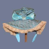 Beautiful Blue Satin Doll Bonnet Hat Lace Trim Fancy Vintage Hand Made