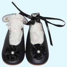 Beautiful Pair Of Lenore Black Leather Doll Shoes