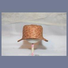 Old Straw Doll Hat Bonnet Wide Front Brim