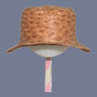 Old Straw Doll Hat Bonnet Wide Front Brim