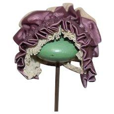 Beautiful Purple Silk and White Lace Doll Bonnet