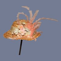 Small Woven Straw Doll Sun Hat With Flowers and Feathers