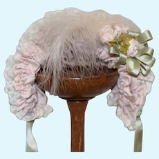 Beautiful Pink Doll Bonnet W/ Feathers and Flowers  Wire Framed