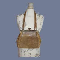 Miniature Brown Leather Doll Purse
