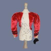Red Velvet Long Sleeved Doll Jacket