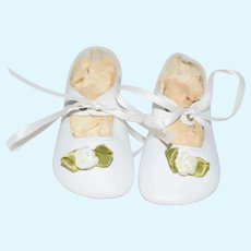 """Lenore"" Stamped White Leather Doll Shoes"