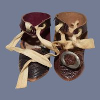 Miniature Dark Brown Leather Doll Shoes