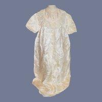 Stunning White Silk Flower Print Short sleeve Doll Dress