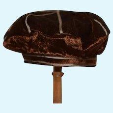 Beautiful Brown Velvet Doll Hat