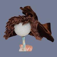 Brown Big Bow Velvet Doll Bonnet