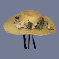 Yellow Doll Sun Hat with a Floral Decoration