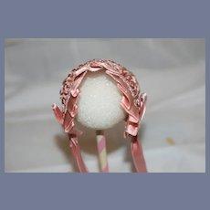 Pretty Pink Silk Ruffle Doll Bonnet