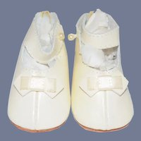 """""""Lenore"""" Stamped White Leather Doll Shoes"""