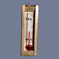 Old Miniature Brass & Glass Doll Dollhouse Thermometer Wall Hanging