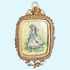 Wonderful Miniature Doll Dollhouse Watercolor Painting By Joan Mitchell Signed Metal Ornate Frame