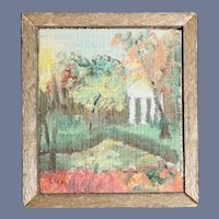 Vintage Doll Wood Framed Painting Miniature Dollhouse