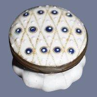 Sweet Antique Enamel Patch Box Vanity Jar W/ Pattern & Mirror Miniature Fashion Doll Size